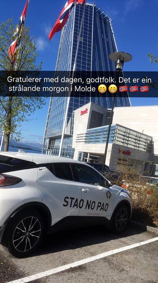 Det var meir hyggeleg å reisa heim med C-HR'en etter å ha vunne mot Molde 16. mai i 2017.